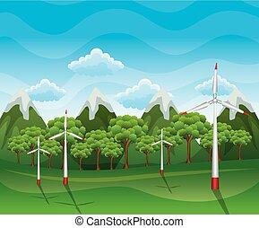 fonte energia, renovável, areje turbina, paisagem