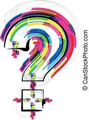fonte, illustration., marca pergunta, símbolo