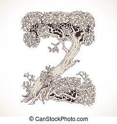 fonte, magia, vindima, -, árvores, mão, floresta, desenhado...