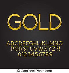 fonte, magra, ouro, números