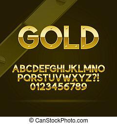 fonte, números, ouro