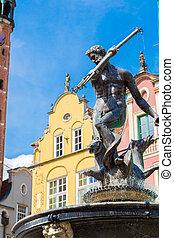 fonte netuno, em, gdansk, polônia