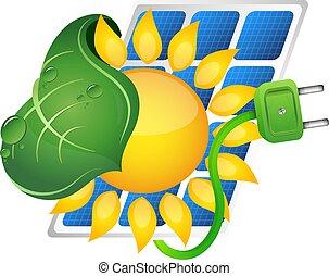 fonte, painéis, poder solar