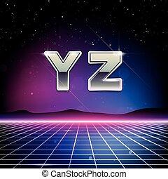 fonte, sci-fi, 80s, retro, y, z