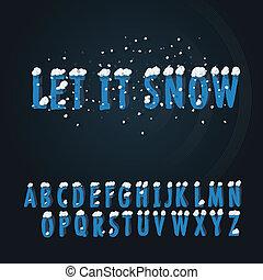fonte, tipo, retro, neve