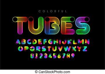 fonte, tubos, coloridos