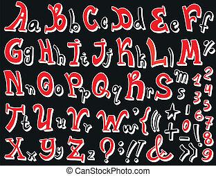 fonte, vetorial, -, alfabeto, ilustração