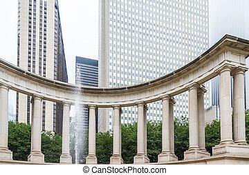 fontein park, kolommen, chicago