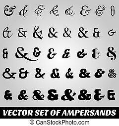 fontes, diferente, jogo, ampersands