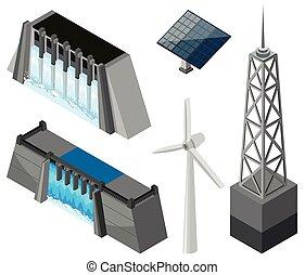 fontes, diferente, tecnologia, energia