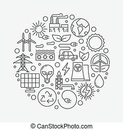fontes, energia alternativa, ilustração