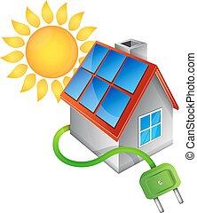 fontes, energia alternativa, lar