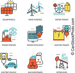 fontes, energia, emblema, linha