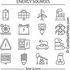 fontes, energia, jogo, linha, ícone