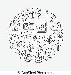 fontes, energia, renovável, ilustração