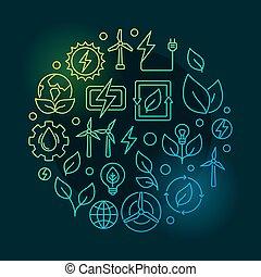 fontes, energia, verde, renovável, ilustração