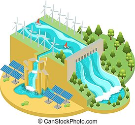 fontes, isometric, conceito, energia alternativa