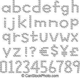 fontes, pequeno, rhinestones, letra