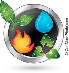 fontes, símbolo, reciclagem, energia alternativa