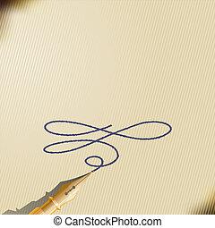 fontijn, ouderwetse , pen, papier, blad