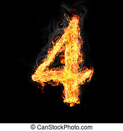 Fonts, numbers and symbols in fire - Number 4 made of fire