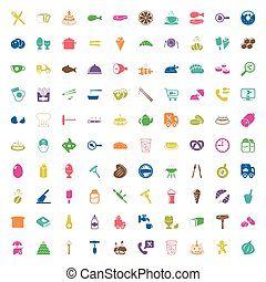 food 100 icons set for web flat