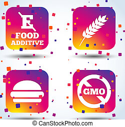 Food additive icon. Hamburger fast food sign. Gluten free...