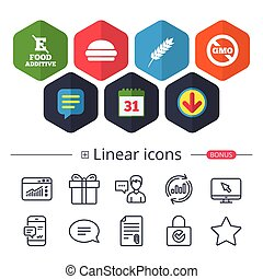 Food additive icon. Hamburger fast food sign. - Calendar,...