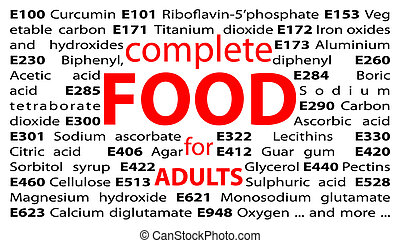 Food additives - e-numbers - Illustration of e numbers of...