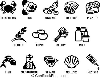Food Allergen Icons - Food allergy icons including the 14...