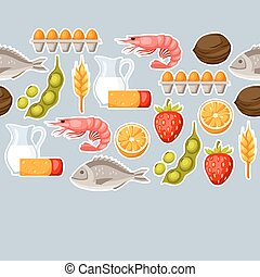 Food allergy seamless pattern with allergens and symbols....