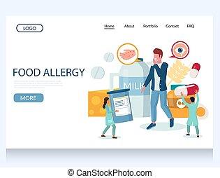 Food allergy vector website landing page design template -...