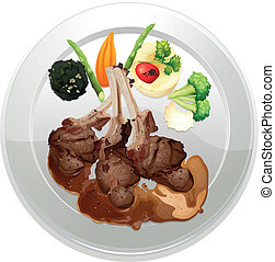 food and a dish - illustration of food and a dish on a white...