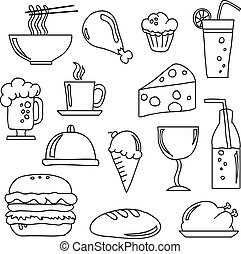 Food and Beverage Doodles - Vector doodles of various food...