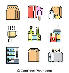 food and beverage icon set color