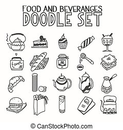 Food and beveranges morning breakfast lunch or dinner kitchen doodle hand drawn sketch rough simple icons coffee, tea, teapot, cupcake, jam other sweets