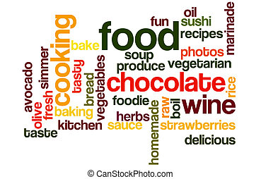 Food and Fun Word Cloud in Bright Colors