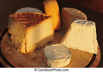 Food and Cuisine - Cheese - Goat cheese on display in a...
