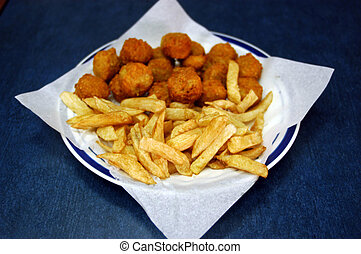Food and Cuisine - Falafel - Falafel and chips on a plate.