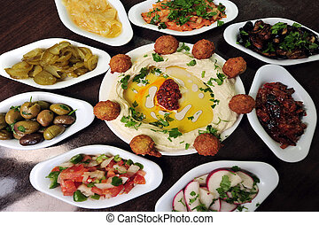 Food and Cuisine - Hummus - Hummus - mashed chickpeas and...