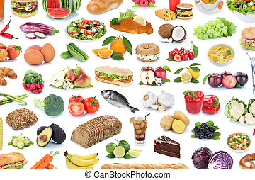 Food and drink collection background fruits vegetables fruit drinks isolated