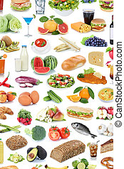 Food and drink collection background fruits vegetables healthy drinks isolated