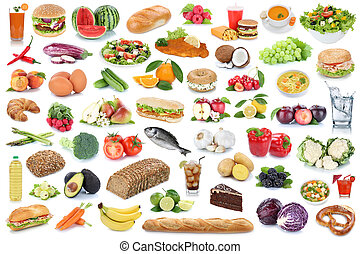 Food and drink collection background healthy eating fruits vegetables fruit drinks isolated