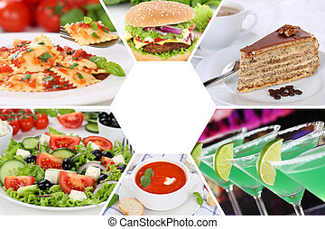 Food and drink collection collage beverages drinks meal meals restaurant menu