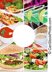 Food and drink collection collage menu beverages drinks meal meals restaurant