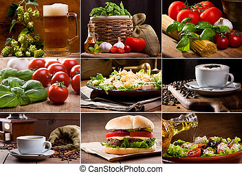 food and drink collection - collage of still life of...