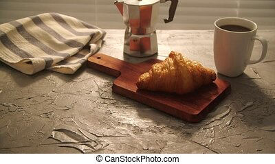 Food and drink concept. Morning breakfast - coffee and ...