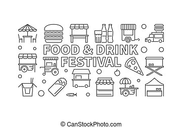 Food and drink festival concept outline vector banner