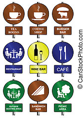 Food and drink graphic and text sign collection mounted on...