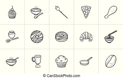 Food and drink hand drawn sketch icon set.